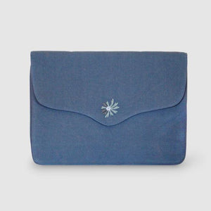 Bouquet - Aari Embroidered Laptop Sleeve Blue