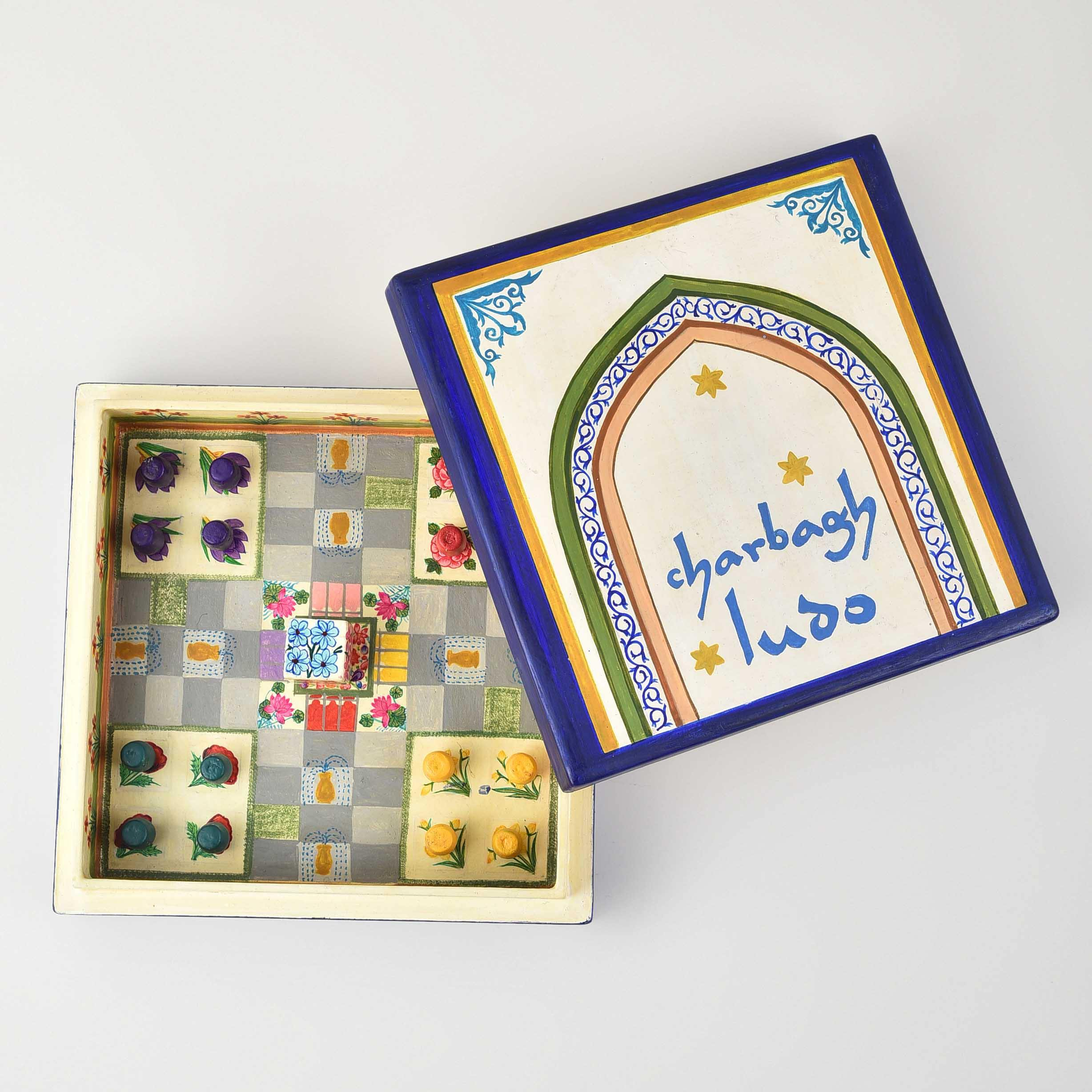 Charbagh Ludo - Papier Mache Game Cream Small