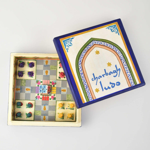 Charbagh Ludo - Papier Mache Game Cream Small - Zaina by CtoK