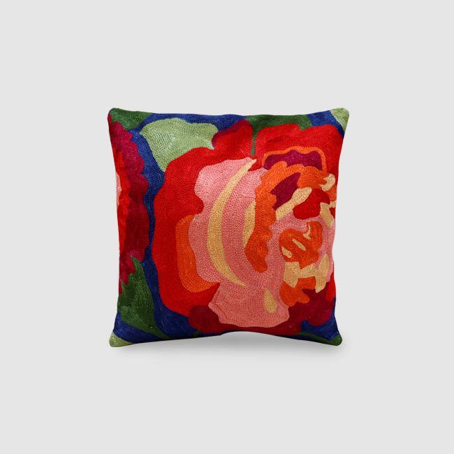Rose Chainstitch Embroidered Cushion Cover Navy Blue - Zaina by CtoK