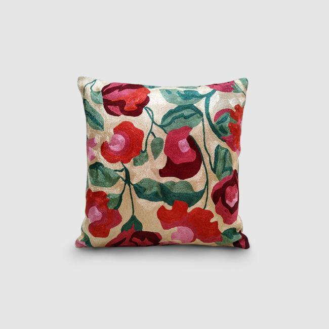 Nargis - Chainstitch Embroidered Cushion Cover Cream