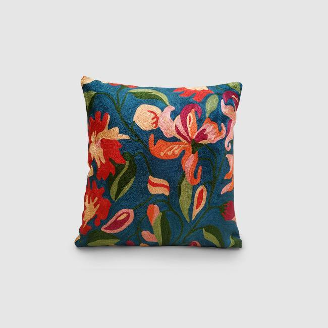 Lilly- Chainstitch Embroidered Cushion Cover Teal Blue