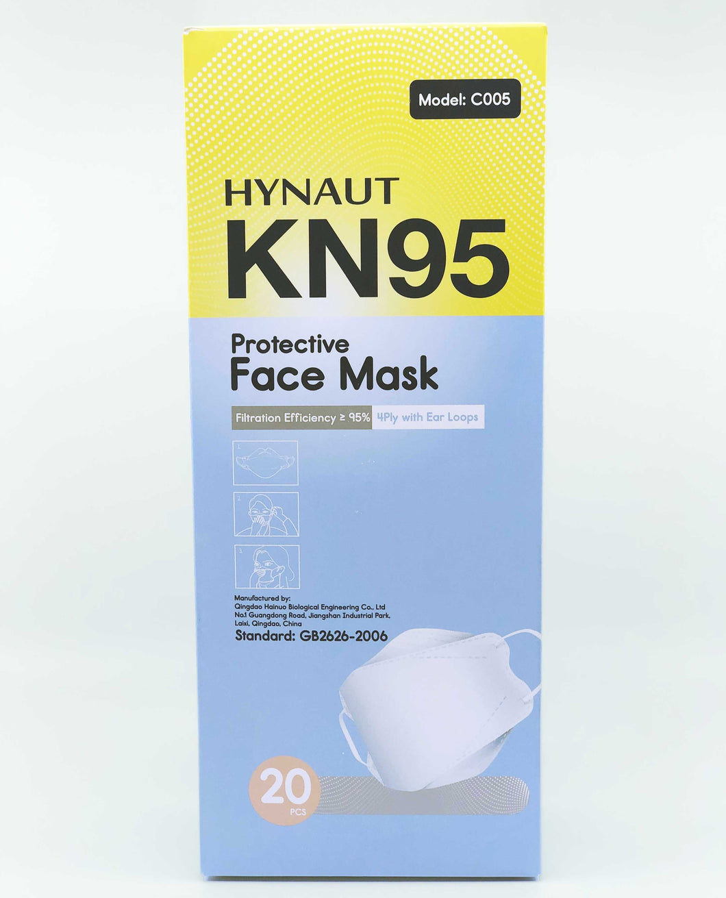 Protective Face Mask Black KN95 (GB2626-2006) 20 Pack