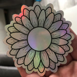 Holographic Sun Flower Die Cut Sticker - Spring Summer Floral
