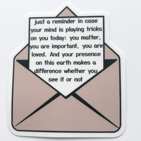 Just A Reminder Die Cut Sticker - Anxiety