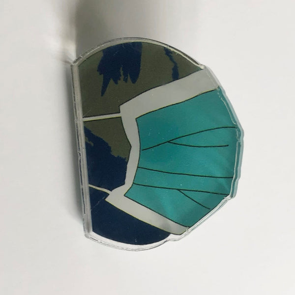 World Wearing A Mask Pin Badge