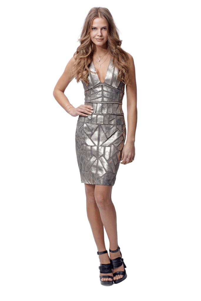 Leather Applique Dress - Silver