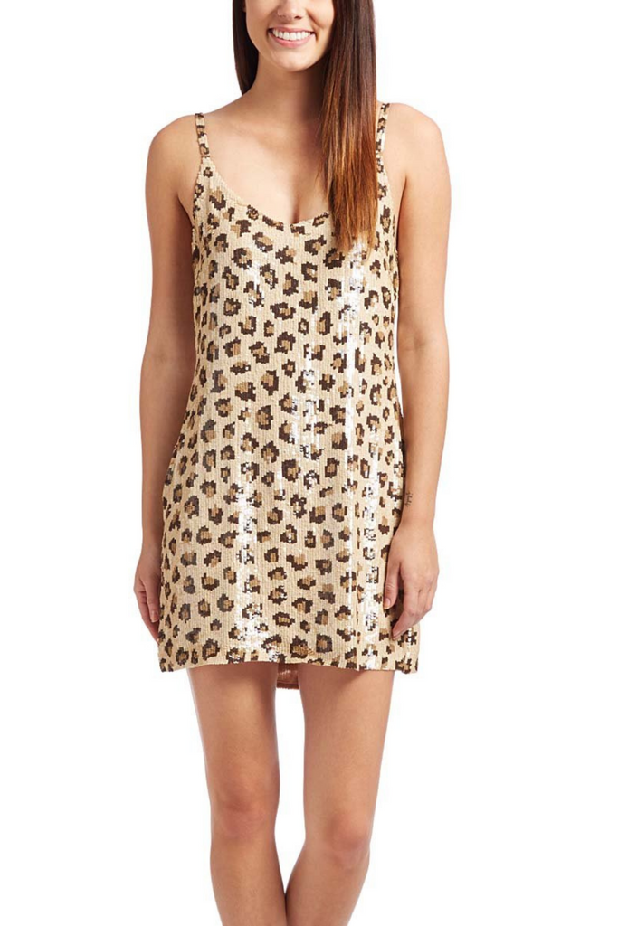 Leopard Sequin Mini Tank Dress