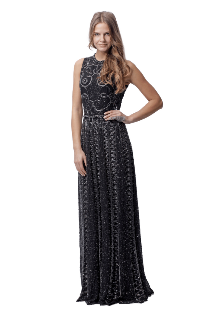 Embellished Beaded Evening Gown
