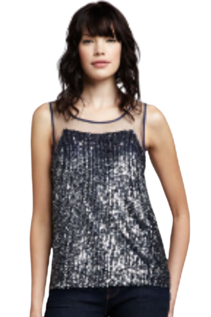 Nylon Mesh Sequin Top