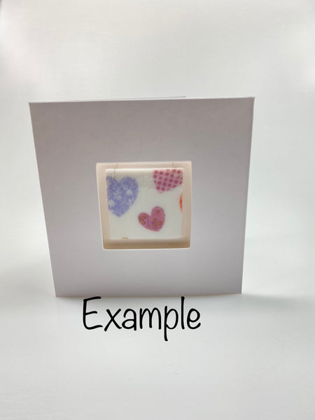Card with a fused glass gift - Elephants