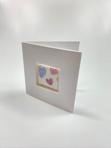 Card with a fused glass gift - Heart