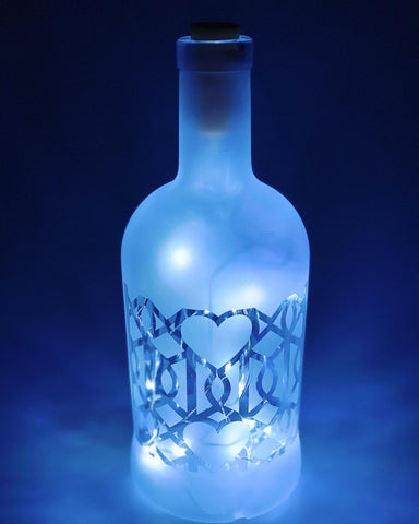 Upcycled Glass Light Bottle - Hearts