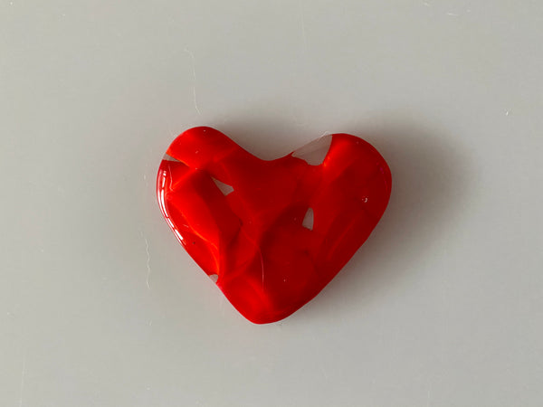 Fused Glass Pocket Heart Red