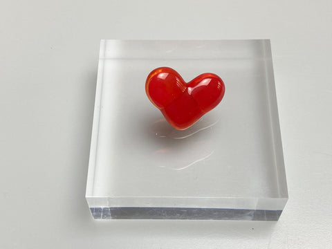 Fused Glass Heart Pin Badge Red