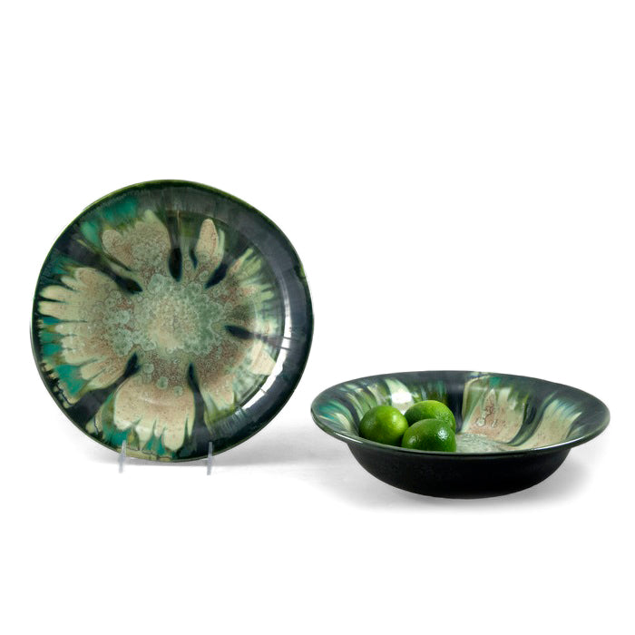 AE Ceramics - Round Series - Pasta / Fruit Bowl in Mint & Charcoal