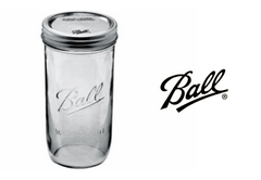 BALL Mason Jar (wide mouth) with 2 drink lids 24oz |美國 BALL 玻璃瓶(寬瓶口)連兩個蓋 24oz