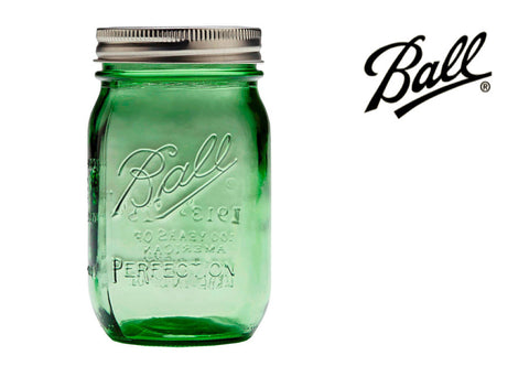 [SPECIAL EDITION] BALL Heritage Mason Jar (regular mouth) with 2 lids, Green 16oz |[特别版] 美國 復古BALL 玻璃瓶(普通瓶口)連兩個蓋, 綠色 16oz