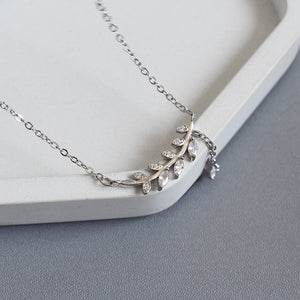 S925 Sterling Silver Diamond Olive Branch Willow Leaf Tassel Clavicle Chain Fashion Jewelry Necklace
