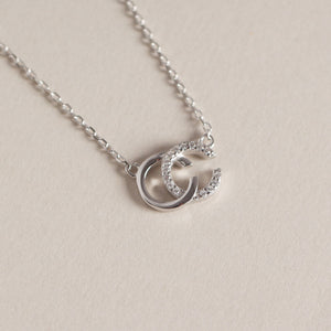 Double C S925 sterling silver clavicle chain flashing diamond necklace