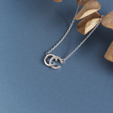 Load image into Gallery viewer, Double C S925 sterling silver clavicle chain flashing diamond necklace