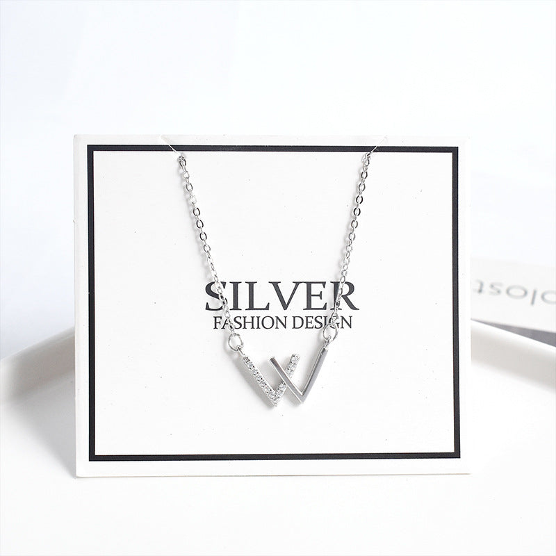 Sterling Silver Double V-shaped Clavicle Fashion Necklace