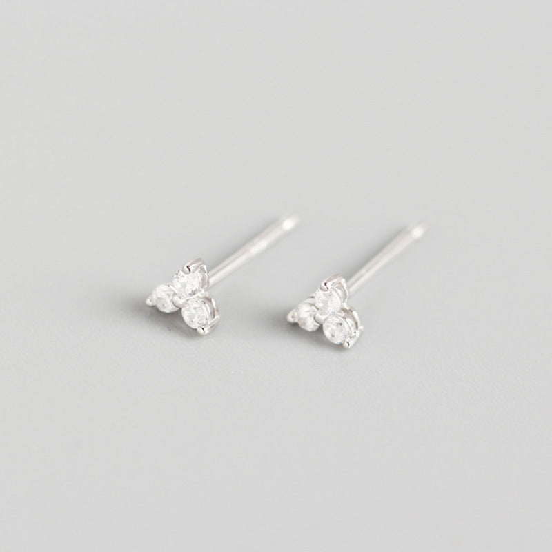 sterling silver clover luxury earrings with diamonds