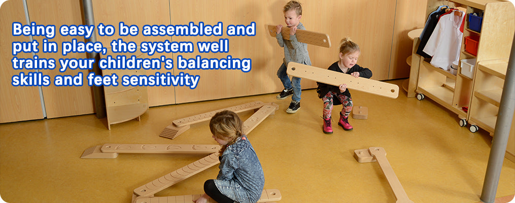 Being easy to be assembled and put in place, the system well trains your children's balancing skills and feet sensitivity