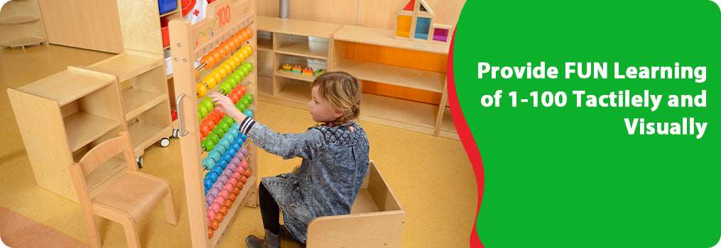 This giant freestanding abacus is made of sturdy European beech wood and heavy duty stainless steel bars.  The 100 colourful beads provides different play options encouraging developments on number sequencing skills, fine motor skills, interaction skills and etc.