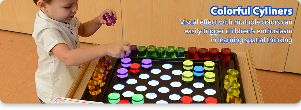 Colorful Cyliners Visual effect with multiple colors can easily trigger children's enthusiasm in learning spatial thinking