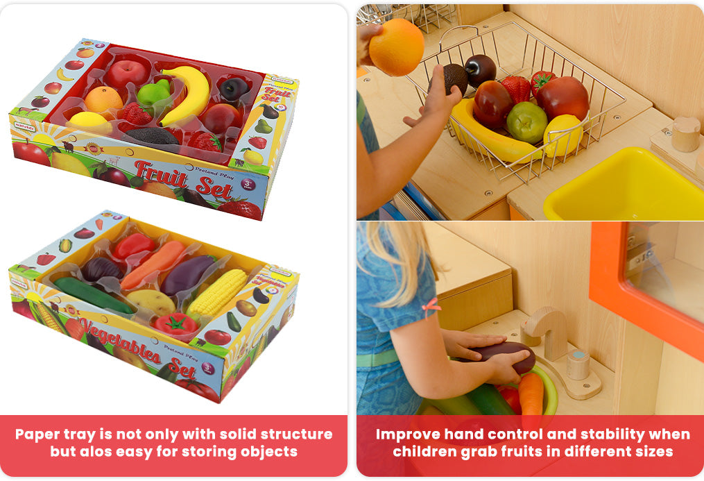 Paper tray is not only with solid structure but alos easy for storing objects Improve hand control and stability when children grab fruits in different sizes