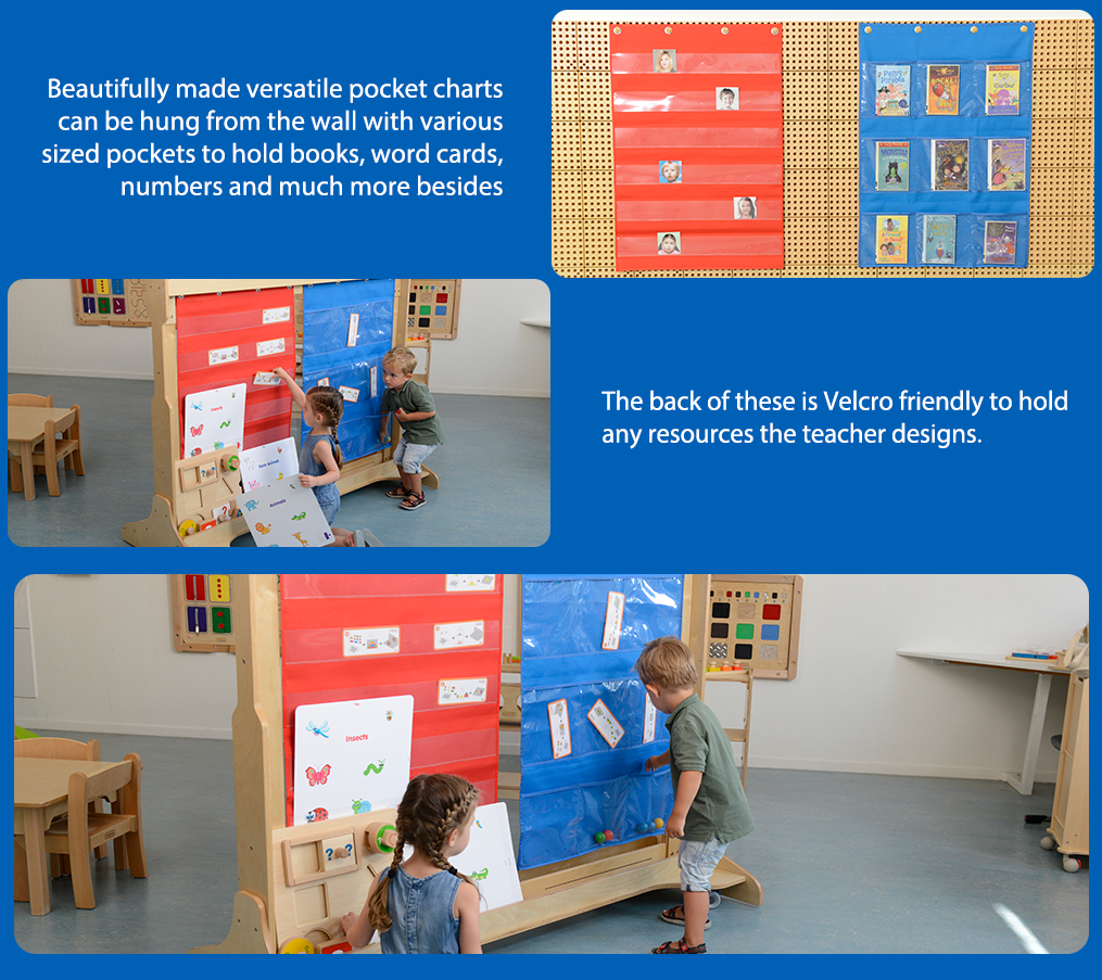 Beautifully made versatile pocket charts can be hung from the wall with various sized pockets to hold books, word cards, numbers and much more besides. The back of these is Velcro friendly to hold any resources the teacher designs.