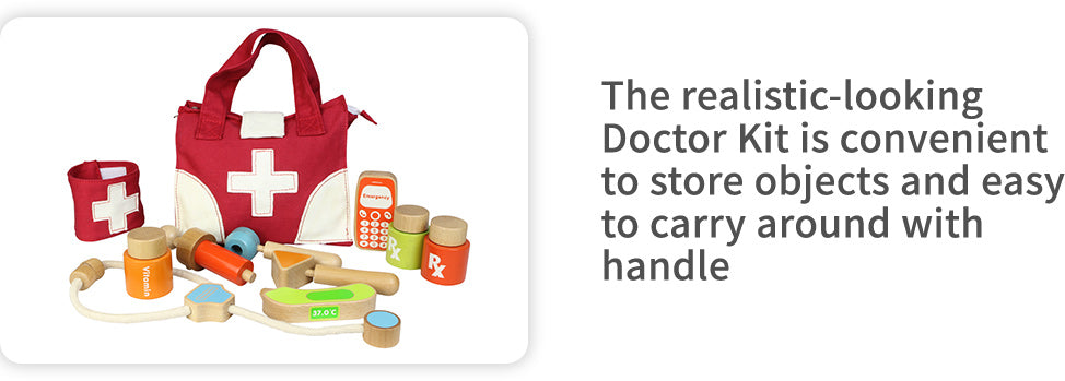 Our realistic-looking Doctor Kit has everything a little doctor would need for house calls. It includes: stethoscope ,syringe, cell phone, thermometer and more.  An ideal preschool and educational toy.    Made of sustainable European beech and plywood.