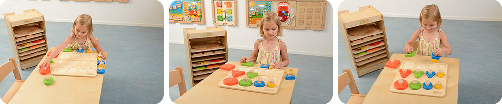 A 12 piece wooden shapes peg puzzle that helps children develop colour matching, size sequencing, and logical thinking.