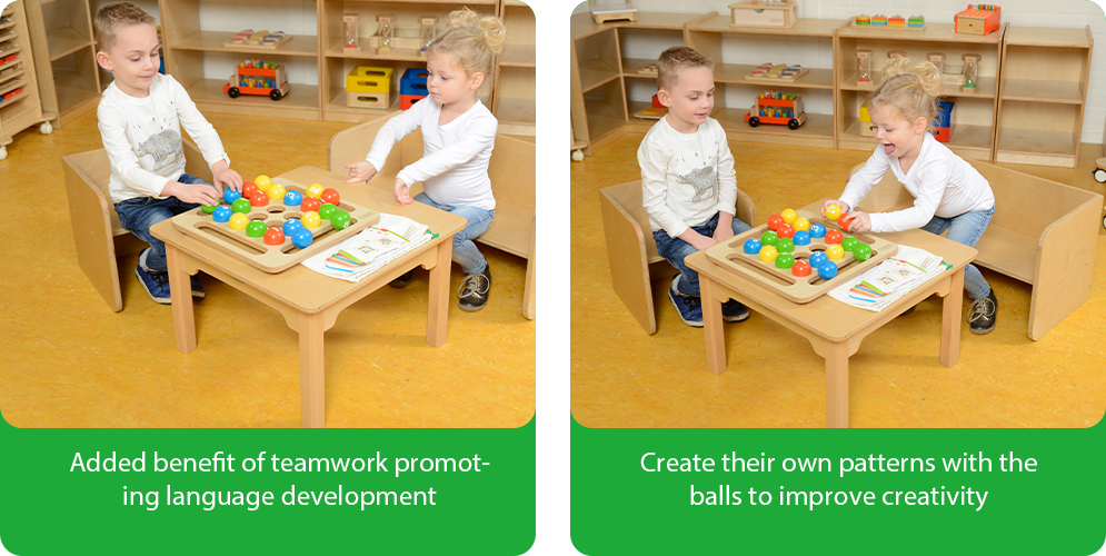 Added benefit of teamwork promoting language development Create their own patterns with the balls to improve creativity