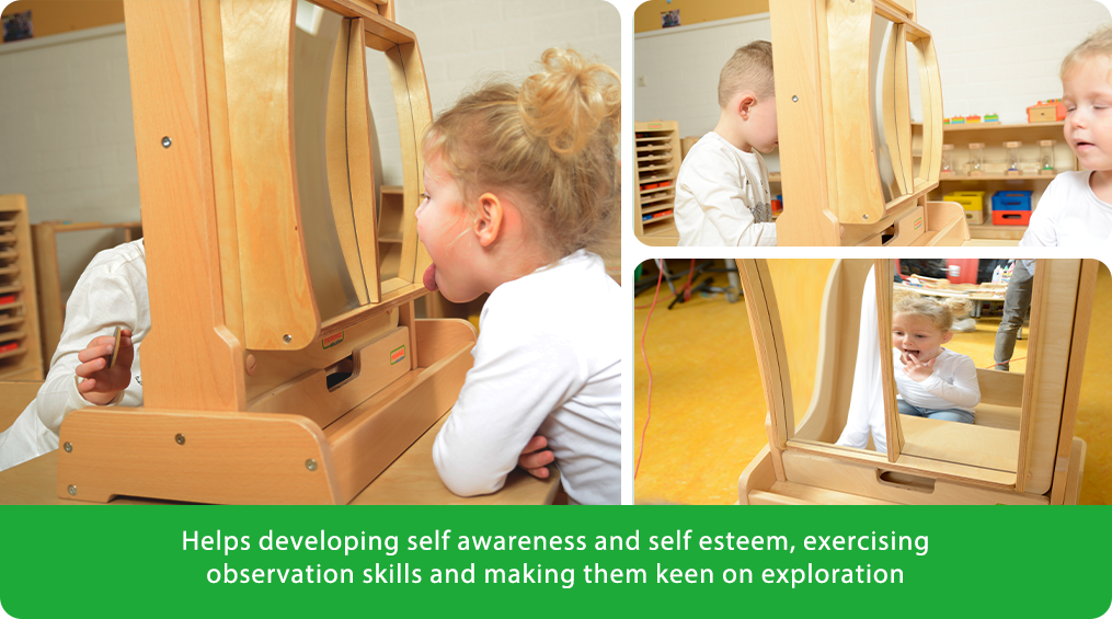 Helps developing elf awareness and self esteem, exercising observation skills and making them keen on exploration