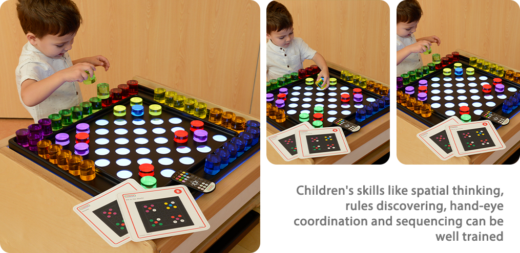 Children's skills like spatial thinking, rules discovering, hand-eye coordination and sequencing can be well trained