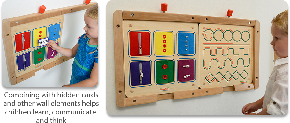Combining with hidden cards  and other wall elements helps  children learn, communicate  and think