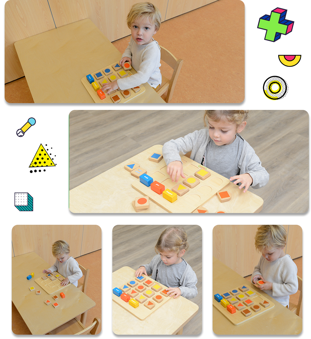 The 3 rectangular blocks on the top row represent 3 basic colours red, yellow and blue. The 3 semi-circular blocks on the left column represent 3 baisc shapes triangle, circle and square.    To play, teacher or parent can use any one of the 3 semi-circular blocks and the 3 rectangular blocks, and ask the kid to match the square blocks with the colour blocks. Or, to place all 3 colour blocks and all shape blocks on the board, ask the kid to place all 9 square blocks at the right positions.    A perfect toy for shape learning, colour recognition and logical thinking skills development.