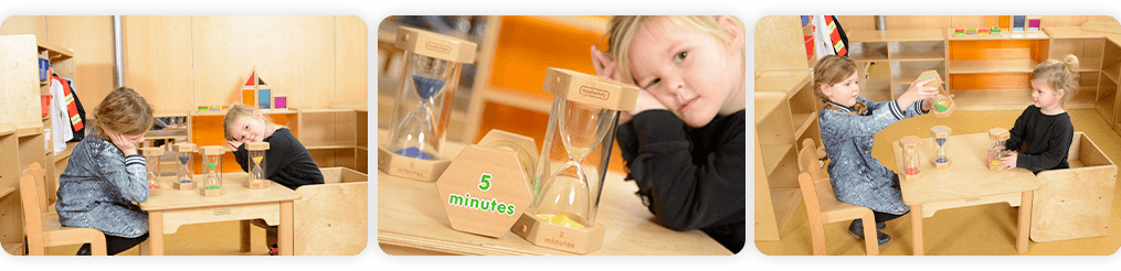 The set includes one 1-minute, one 2-minute ,one 3-minute and one 5-minute timers. Ideal for games, task timing and other time sensitive projects.