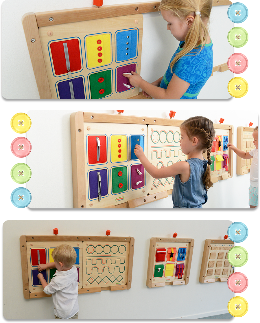 Children can practice their manual dexterity and hand eye coordination using this board with its various fastening devices. In addition, they will get to see, use and experience real world fasteners. The board includes small and large buttons, a zip and a double zip and press stud fasteners. There is the additional problem-solving challenge of learning to open a fastening that has never been seen before.
