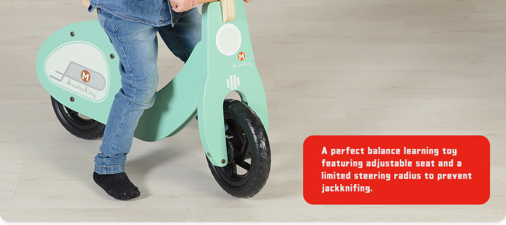 A perfect balance learning toy featuring adjustable seat and a limited steering radius to prevent jackknifing.