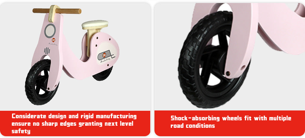 Considerate design and rigid manufacturing ensure no sharp edges granting next level safety Shock-absorbing wheels fit with multiple road conditions