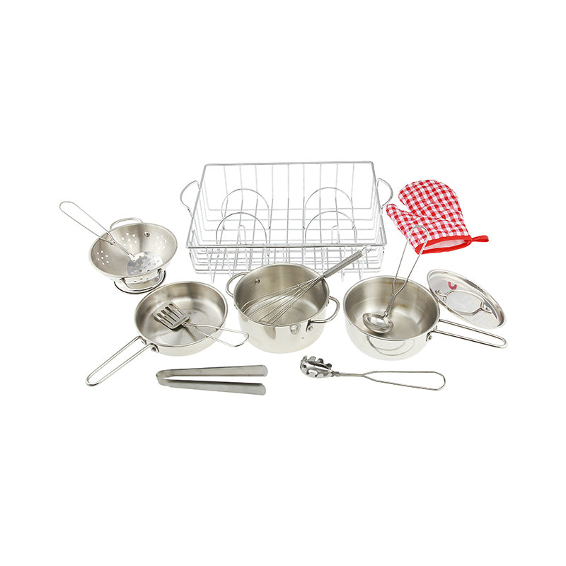 Cookware Set Pretend Play Stainless Steel 13 Piece