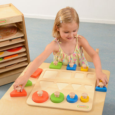 Peg Puzzle in Shape, Size and Color Learning