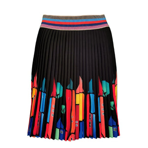 Black Mini Pleated Skirt With Colorful House Prints-Contemporary Fashion-Sustainable Fashion-Ethical Designer-Contemporaryfashion.com