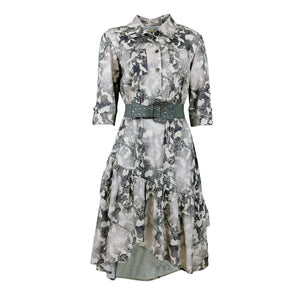 Camo Print Cotton Dress With Green Belt-Contemporary Fashion-Sustainable Fashion-Ethical Designer-Contemporaryfashion.com
