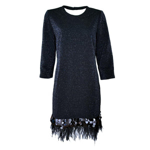 Dark-Blue Sparkles On Black Fabric Knitted Dress-Contemporary Fashion-Sustainable Fashion-Ethical Designer-Contemporaryfashion.com