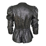 Dark Silver Sequin Blouse With Peplum Hem-Contemporary Fashion-Sustainable Fashion-Ethical Designer-Contemporaryfashion.com