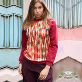 Diamond Pattern Printed Sequin Brick Red Sweatshirt-Contemporary Fashion-Sustainable Fashion-Ethical Designer-Contemporaryfashion.com